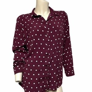 Divided size 14 polka dot button front blouse top